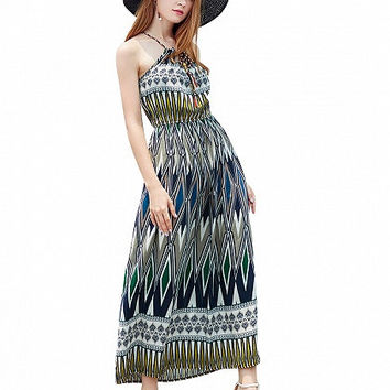 Multicolor Braid Tie Geo Print Spaghetti Strap Maxi Dress