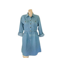Petite Dress Petite Clothing Chambray Dress Denim Dress Women Blue Jean Dress 1990s Dress 90s Dress Button Up Dress Long Sleeve Dress Midi