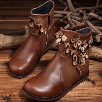 Handmade Leather Seam Designer Shoes Women,Short Boots With Flower,Oxford Women Shoes,Flat Leather Boot, Brown Round toes Boots