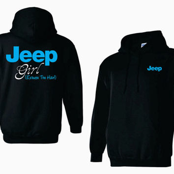 Jeep Girl (Excuse The Hair) Adult Heavyweight Hoodie