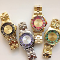 Beautiful  See-Through Color Number Metal Watches #W53
