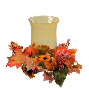 "10"" Autumn Harvest Sunflower and PumpkinThanksgiving Hurricane Pillar Candle Holder"