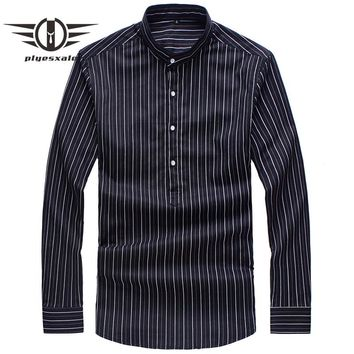 Vertical Striped Shirts Men New Spring Autumn Stand Collar Shirt Man Slim Fit Men Casual Shirts Long Sleeve