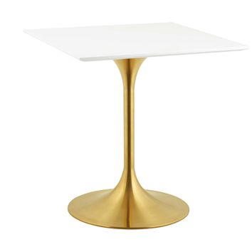 "Lippa 28"" Square Dining Table Gold White EEI-3211-GLD-WHI"