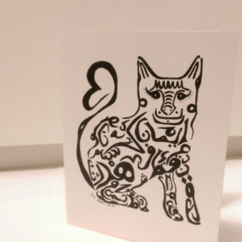 Cat/Kitty Card Arabic Calligraphy Original any occasion set (blank inside, folded card)