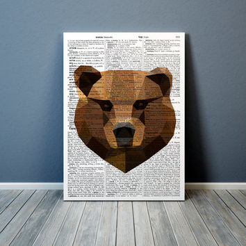 Animal art Grizzly print Geometric bear poster Colorful decor TO305