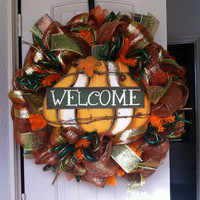 Deluxe Fall Pumpkin Welcome Deco Mesh Wreath