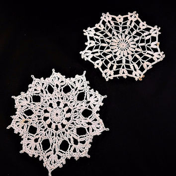 "Stiff Crochet Lace Snowflake White Doily Ornament 2 Pc 7"" and 7.5"" Handmade Vtg"