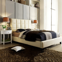 Home Creek Amara Columned Queen Bed with 2 Modern Oval Nightstands
