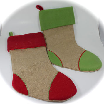 Personalized Burlap Christmas Stockings