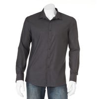Marc Anthony Extra-Slim Geometric Casual Button-Down Shirt - Men, Size: L (Black)
