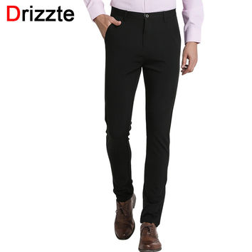 Men Classic Black Casual Dress Pants Stretch Slim Fit Slacks Pants Trousers