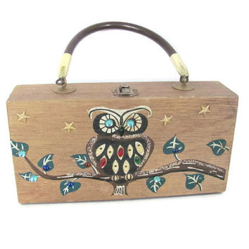 Vintage Owl Purse, 1960's Gary Gails Wood Purse, Decorated Wooden Purse, Jeweled Owl Purse, Enid Collins Style, Mod Owl Box Purse