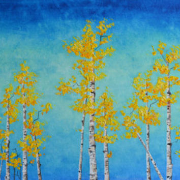 Yellow Morning Birch Trees Original Oil Painting