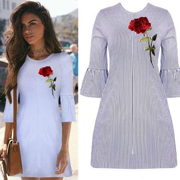Embroidery Round-neck Short Sleeve Zippers Stripes Women's Fashion One Piece Dress [10203226247]
