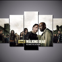 5 Panel The Walking Dead Canvas Wall Art