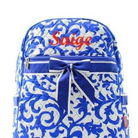 Monogrammed Backpack Royal Blue Damask Monogram Quilted Backpack  Personalized Backpack
