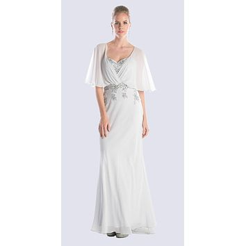 Caplet Long Evening Dress Silver Chiffon Sweetheart Beads