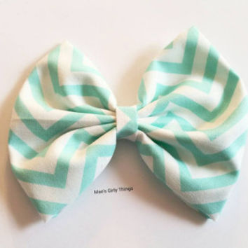 Aqua hairbow, extra large 5x5 hairbow, for children teens or adults, frozen inspired hair bow, chevron pattern hair bow, Retro style hairbow