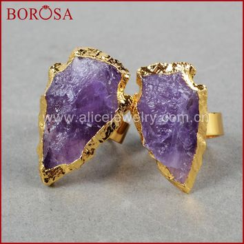 BOROSA Free Shipping Fashion Jewelry Natural quartz stone  Gold Color Arrowhead Raw Natural Purple Crystal Arrowhead Ring G698