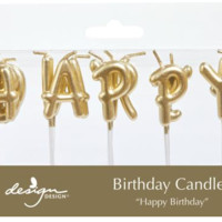 Happy Birthday Gold Letter Candles