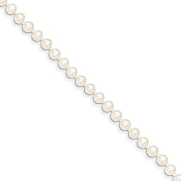 4-5mm, White FW Cultured Pearl & 14k Yellow Gold Clasp Necklace