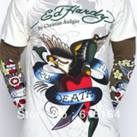 Hot Sell Brand Men's ED Hardy T Shirt White/Brown Eagle Print Fashion Shirt Casual Hip hop Long Sleeve T-shirts Cheap Sale