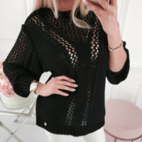 Explosive sweater women's autumn and winter new loose hollow pullover large size sweater