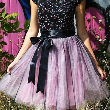 New Pink-Black Patchwork Grenadine High Waisted Tulle Tutu Homecoming Party Cute Elegant Midi Skirt