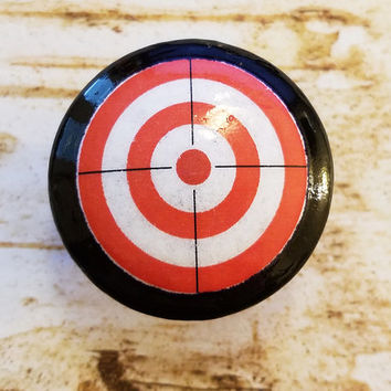 "Bullseye Target Knobs, Handmade Red White Knob Drawer Pulls, 1.5"" Kids Room Dresser Knobs, Toy Room Knobs, Archery Decor, Made To Order"