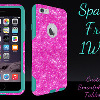 "OtterBox Commuter Series Case for 4.7"" iPhone 6 - Custom Glitter Case for 4.7"" iPhone 6 - Hot Pink/Teal"