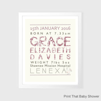 Personalized Baby Stats Print - Personalized Baby Gift - Nursery Wall Art - Printable - Birth Stats Nursery Wall Decor - Baby Girl