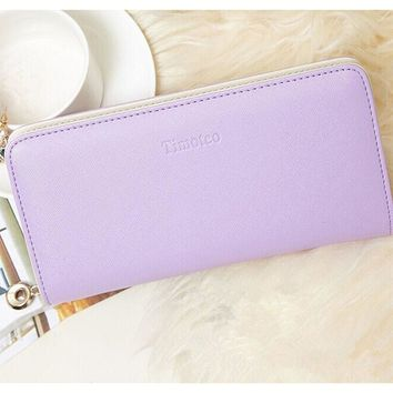 Candy color leather wallet long Ladies clutch coin purse
