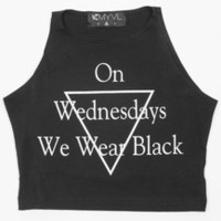 On Wednesdays We Wear Black Crop Top