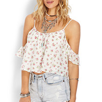 FOREVER 21 Ruffled Off-Shoulder Top Cream/Pink Large