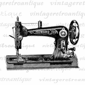 Antique Sewing Machine Printable Graphic Download Illustration Image Digital Vintage Clip Art Jpg Png Eps  HQ 300dpi No.1422