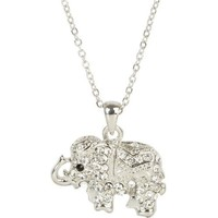 Sparkly Royal Crystal Elephant Pendant Necklace - Dressed in Blanket