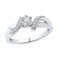 10kt White Gold Womens Round Diamond Solitaire Promise Bridal Ring 1/10 Cttw 100563