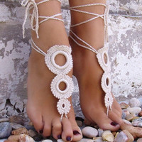 Nude shoes, Foot jewelry, Wedding, Victorian Lace, Sexy, Yoga, Anklet , Bellydance,Steampunk, Beach Pool,Ethnic,Crochet Ivory Barefoot Sandals Gift-05