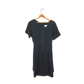 Black 90s Dress Short Sleeved Boho Grunge Button Up Mini Basic Dress Preppy Slip Sundress Flirty Little Black Dress Womens Small