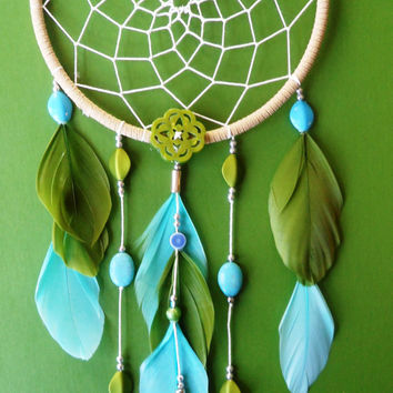 Dream Catcher - Modern - Green and Blue
