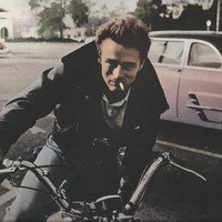 JAMES DEAN on MOTORCYCLE 9 1/2 x 11 3/4 Colorized black and white photo postcard