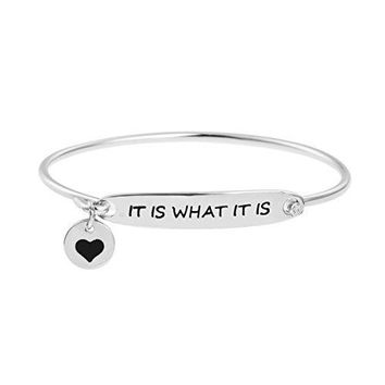 Yiyang Inspirational Bangle Bracelet for Women Rhodium Plated Silver Jewelry