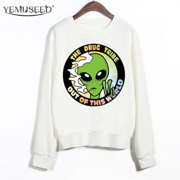 YEMUSEED Out Of The World Aliens Women Harajuku Hoodies Winter Clothing For Girl