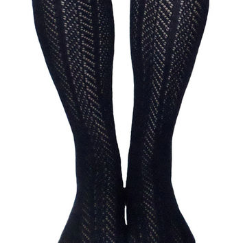 Women's Navy Blue Chevron Pattern Button Lace Boot Socks, Crochet Lace Button Boot Socks, gift