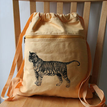 Tiger Screen Printed Canvas Backpack by catbirdcreatures on Etsy
