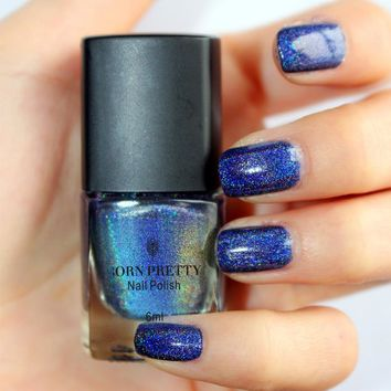 BORN PRETTY 6ml Nail Polish Purple Color Shimmer Holographic Holo Glitter Manicure Varnish Holographic Effect