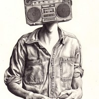 Radio-Head Art Print by KatePowellArt