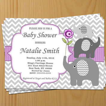 Baby Shower Invitation Girl Baby Shower Invitation Invite Elephant Baby Shower Invitation (50pg) - Free Thank You Card - Instant Download