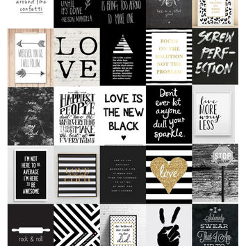 Black & White Quote Planner Stickers